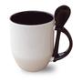 Confezione da 36 tazze e cucchiaio interno manico nero, A