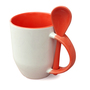 36 box mugs with spoon, inside and handle red, grade A