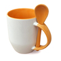 36 box mugs with spoon, inside and handle orange, grade A