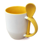 36 box mugs with spoon, inside and handle yellow, grade A
