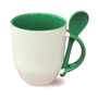 36 box mugs with spoon, inside and handle light green, grade A
